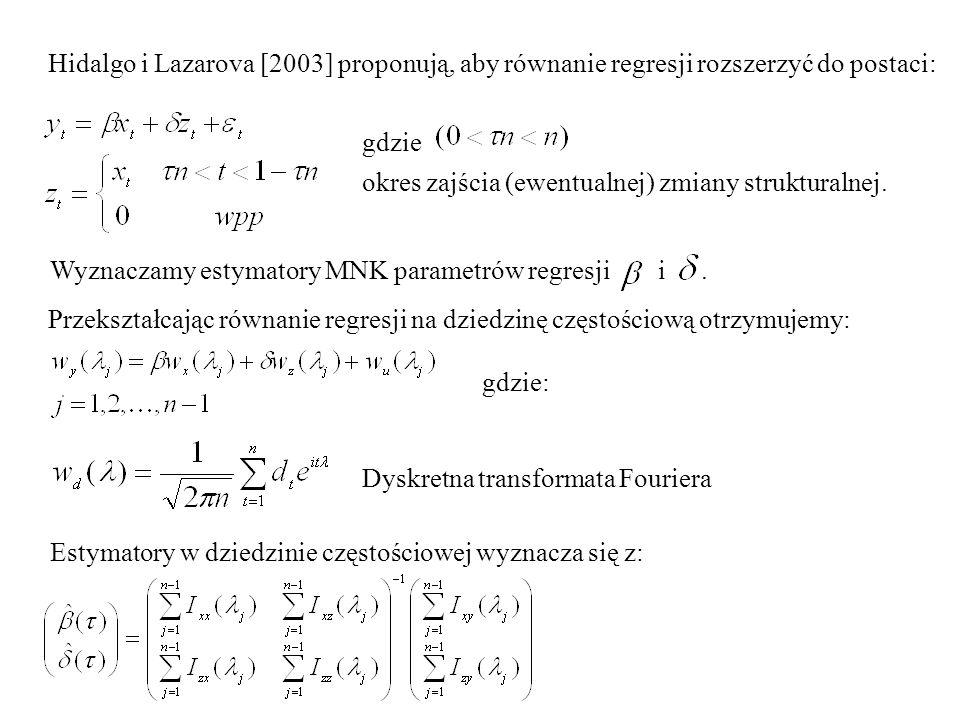 Hidalgo i Lazarova [2003] proponują, aby równanie regresji rozszerzyć do postaci: